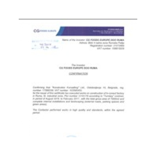 CG Foods confirmation letter