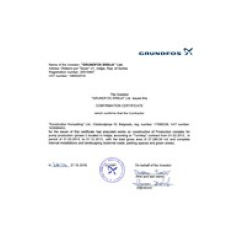 Grundfos confirmation certificate
