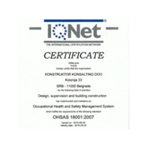IQnet certificate for health and safety management, KKonsalting