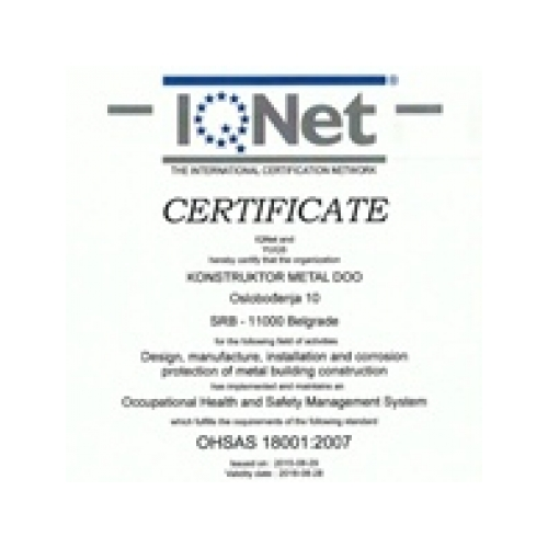 IQnet certificate for health and management, KMetal